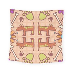 Dog Abstract Background Pattern Design Square Tapestry (small)
