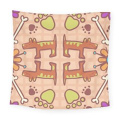 Dog Abstract Background Pattern Design Square Tapestry (large)