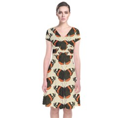 Butterfly Butterflies Insects Short Sleeve Front Wrap Dress