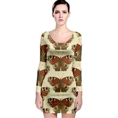 Butterfly Butterflies Insects Long Sleeve Bodycon Dress