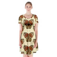 Butterfly Butterflies Insects Short Sleeve V Neck Flare Dress