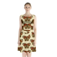 Butterfly Butterflies Insects Sleeveless Chiffon Waist Tie Dress