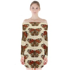 Butterfly Butterflies Insects Long Sleeve Off Shoulder Dress