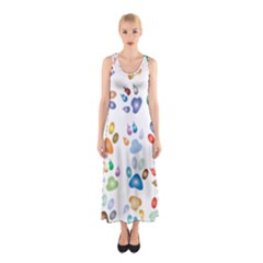 Colorful Prismatic Rainbow Animal Sleeveless Maxi Dress