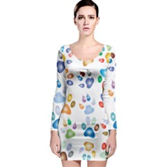 Colorful Prismatic Rainbow Animal Long Sleeve Bodycon Dress