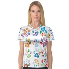 Colorful Prismatic Rainbow Animal Women s V Neck Sport Mesh Tee