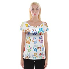 Colorful Prismatic Rainbow Animal Women s Cap Sleeve Top
