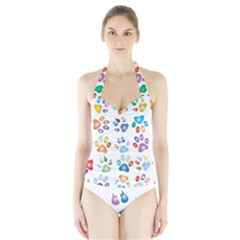 Colorful Prismatic Rainbow Animal Halter Swimsuit