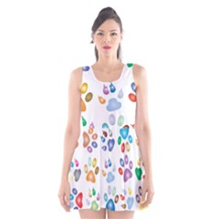 Colorful Prismatic Rainbow Animal Scoop Neck Skater Dress