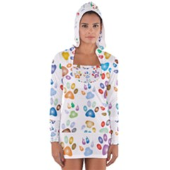 Colorful Prismatic Rainbow Animal Women s Long Sleeve Hooded T Shirt