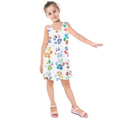 Colorful Prismatic Rainbow Animal Kids  Sleeveless Dress