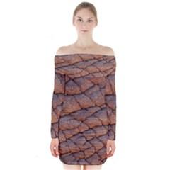 Elephant Skin Long Sleeve Off Shoulder Dress