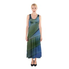 Feather Parrot Colorful Metalic Sleeveless Maxi Dress