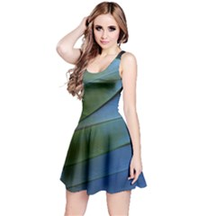 Feather Parrot Colorful Metalic Reversible Sleeveless Dress
