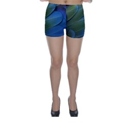 Feather Parrot Colorful Metalic Skinny Shorts