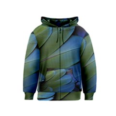Feather Parrot Colorful Metalic Kids  Zipper Hoodie