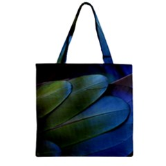 Feather Parrot Colorful Metalic Zipper Grocery Tote Bag