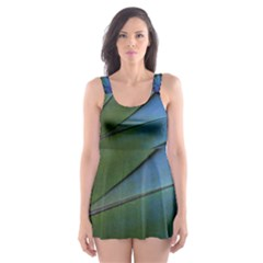 Feather Parrot Colorful Metalic Skater Dress Swimsuit