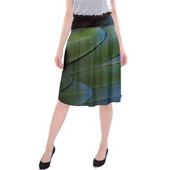 Feather Parrot Colorful Metalic Midi Beach Skirt