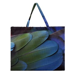 Feather Parrot Colorful Metalic Zipper Large Tote Bag