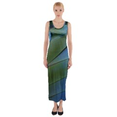 Feather Parrot Colorful Metalic Fitted Maxi Dress