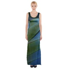 Feather Parrot Colorful Metalic Maxi Thigh Split Dress