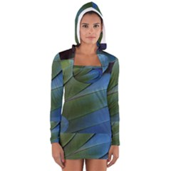 Feather Parrot Colorful Metalic Women s Long Sleeve Hooded T Shirt