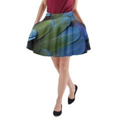 Feather Parrot Colorful Metalic A Line Pocket Skirt