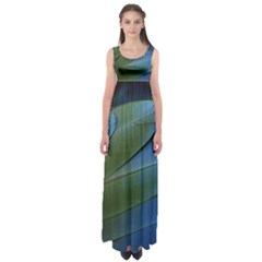 Feather Parrot Colorful Metalic Empire Waist Maxi Dress
