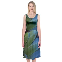 Feather Parrot Colorful Metalic Midi Sleeveless Dress