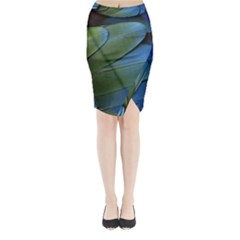 Feather Parrot Colorful Metalic Midi Wrap Pencil Skirt