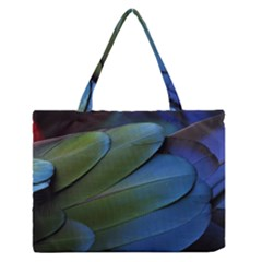 Feather Parrot Colorful Metalic Medium Zipper Tote Bag