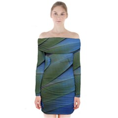 Feather Parrot Colorful Metalic Long Sleeve Off Shoulder Dress