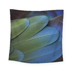 Feather Parrot Colorful Metalic Square Tapestry (small)