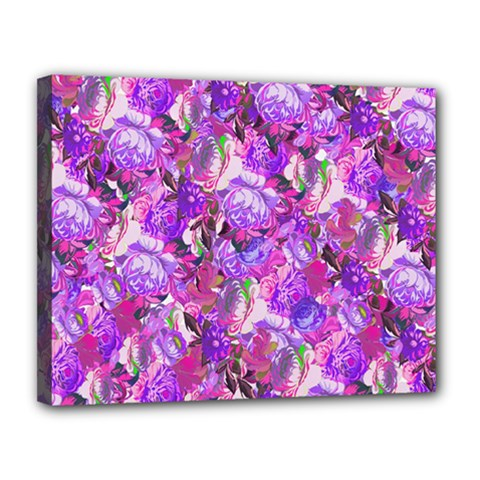 Flowers Abstract Digital Art Canvas 14  X 11