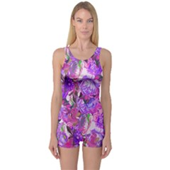 Flowers Abstract Digital Art One Piece Boyleg Swimsuit