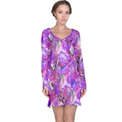 Flowers Abstract Digital Art Long Sleeve Nightdress