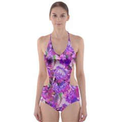 Flowers Abstract Digital Art Cut-Out One Piece Swimsuit
