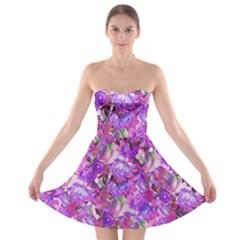 Flowers Abstract Digital Art Strapless Bra Top Dress