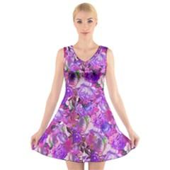 Flowers Abstract Digital Art V Neck Sleeveless Skater Dress