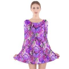 Flowers Abstract Digital Art Long Sleeve Velvet Skater Dress