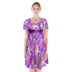 Flowers Abstract Digital Art Short Sleeve V Neck Flare Dress