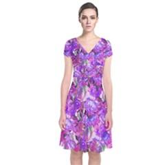 Flowers Abstract Digital Art Short Sleeve Front Wrap Dress