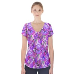 Flowers Abstract Digital Art Short Sleeve Front Detail Top