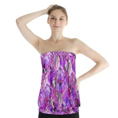 Flowers Abstract Digital Art Strapless Top