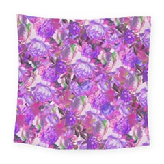 Flowers Abstract Digital Art Square Tapestry (large)