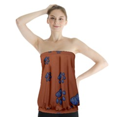 Footprints Paw Animal Track Foot Strapless Top