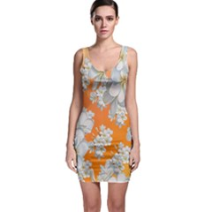 Flowers Background Backdrop Floral Sleeveless Bodycon Dress