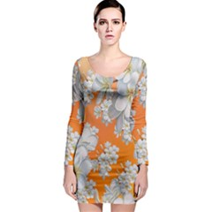 Flowers Background Backdrop Floral Long Sleeve Bodycon Dress