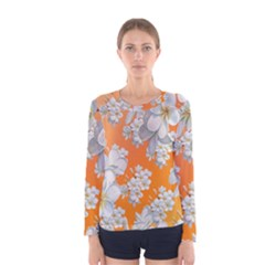 Flowers Background Backdrop Floral Women s Long Sleeve Tee